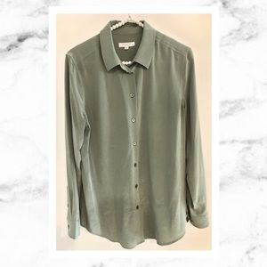 Equipment Olive Green Silk Blouse